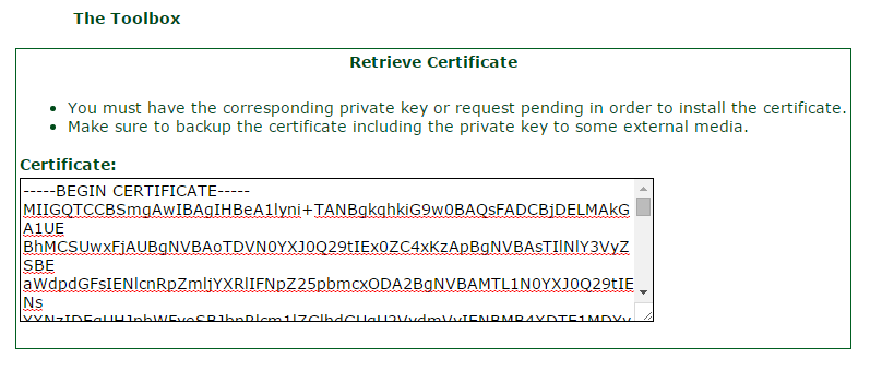 Retrieve Certificate