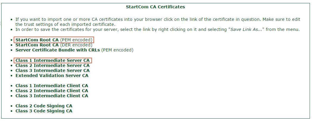 StartCom CA Certificates